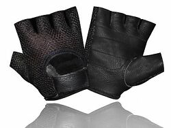 Leather Mesh Fingerless Menquot;s Weight Lifting Exercis Gym Wheelchair Black Gloves $7.99