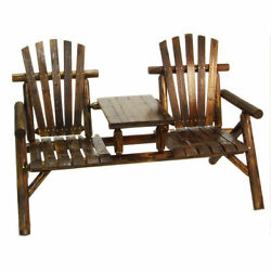 Log Style 2-seat Burnt Bench Porch Patio Out Door Lawn Garden Pool Deck Home NEW