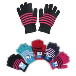 WHOLESALE LOT UNISEX MEN WOMEN MAGIC WINTER WARM KNITTED STRIPED GLOVES SNOW
