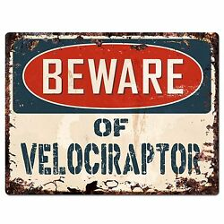 PP1504 Beware of VELOCIRAPTOR Plate Rustic Chic Sign Home Room Store Decor Gift $19.95
