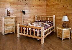 Rustic White Cedar Log Bedroom Set *Bed 5 Drawer Chest Nightstand