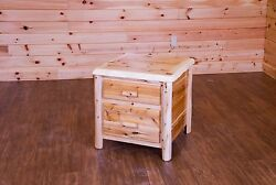 Rustic White Cedar Log 2 Drawer Nightstand End Table -Amish Made in the USA