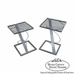 Contemporary Set of 2 Modern Design Expanded Metal Side Tables $435.00