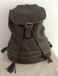 ANAHI M Brown Leather with Embroidered Details Backpack. K