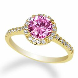 Ladies  Yellow Gold Plated   Pink Tourmaline colored CZ Center Size 5-9