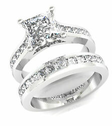 3.25ct Princess cut Diamond Engagement Ring Wedding Band Solid 14k White Gold