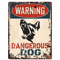 PP2344 WARNING DANGEROUS DOG Plate Sign Rustic Chic Sign Home Door Gate Decor $19.95