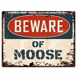 PP1327 Beware of MOOSE Plate Rustic Chic Sign Home Room Store Decor Gift $19.95