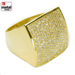 Men#x27;s Bling Brass 14k Gold Plated All Around CZ Band Square Dome Pinky Rings $27.41