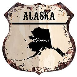 BP 0118 HOME ALASKA MAP Shield Rustic Chic Sign Bar Shop Home Room Decor Gift $23.95