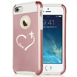 For iPhone X XS 7 8 Plus Rose Gold Shockproof Case Love Heart Cross Christian