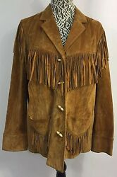 RALPH LAUREN Plus Sz 1X Camel Tan Suede Leather Fringe Western Jacket Coat RARE!