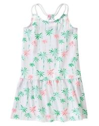 Gymboree Hop N Roll Tropical Palm Tree White Knit Summer Dress Girl Size 6 NEW