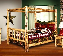 Rustic Red Cedar Log Canopy Bookshelf Bed KING SIZE - Amish Made in USA