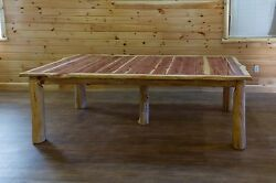 Rustic Red Cedar Log Extension Dining Table with 4 Leaves  - Amish Made in USA