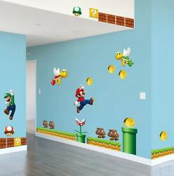 NEW Super Mario Bros Removable Wall Stickers Decal Kids Home Decor ship from U.S $9.44