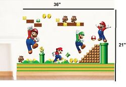NEW Super Mario Bros Removable HUGE Wall Stickers Decal Kids Home Decor USA