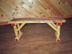 Rustic Red Cedar Log Dining  Hall BENCH - 5 FT LONG - Amish Made in USA