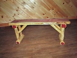 Rustic Red Cedar Log Dining  Hall BENCH - 6 FT LONG - Amish Made in USA