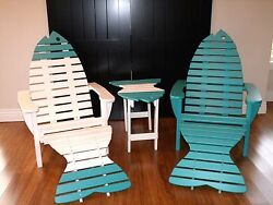 2 Oversized Poly Fish Adirondack Chairs w2 Ottomans & 1 End Table - Amish Made