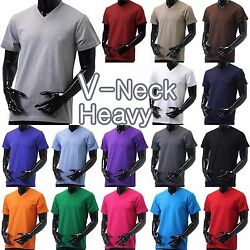 Mens V NECK T Shirts HEAVY Short Sleeve Sports Blank 5XL Solid Color Cotton Tee $8.99