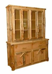 Rustic Pine Log  Buffet Hutch China Cabinet– Amish Made in USA