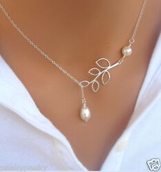 925 Silver Plated Good Luck Leaves Pearl Charm Necklace Pendant Chain Jewelry $5.97