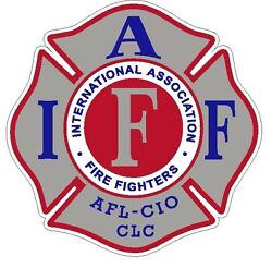 4quot; IAFF Decal Silver with Red amp; Blue Trim Exterior Mount Please Read Auction