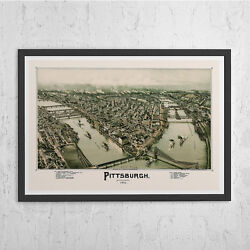 ANTIQUE PITTSBURGH MAP Vintage Map of Pittsburg Antique Map Print $24.95