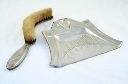 Germany Yellow Copper Hand Engraving Table  Dustpan and Brush Art Deco 20's
