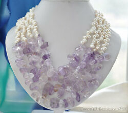 z6009 4strands 7mm white RICE freshwater lavender amethyst necklace 21inch