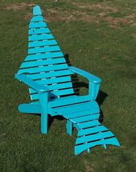 2 Premium Poly Dolphin Adirondack Chairs w Ottoman & End Table Set - Amish Made