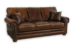 Oullaw Sofa 100%  Leather Sofa Couch Western American Made   C