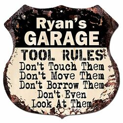 BPG0049 RYAN#x27;S GARAGE RULES Rustic Shield Sign Man Cave Decor Funny Gift $23.95