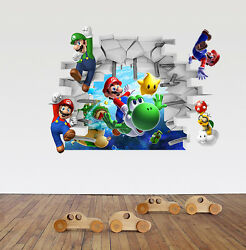 New 3D Super Mario Bros Removable HUGE Wall Stickers Decal Kids Home Decor USA $9.44