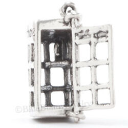 STERLING SILVER 925 TELEPHONE PHONE BOOTH Charm London Pendant door opens 3D