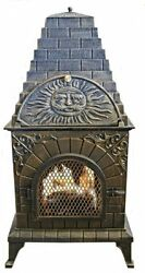 Cute Durable Cast Iron Outdoor Chimney Style Pizza Oven Barbecue BBQ Grill w Lid