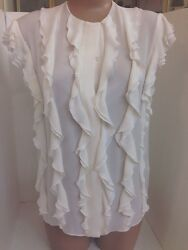 Chloe Blouse Milk White Short Sleeve Ruffle Front Silk Size 34 NWT $1495