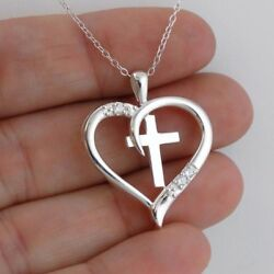 Cross in Heart Necklace 925 Sterling Silver CZ Faith Love Gift Pendant NEW $26.00