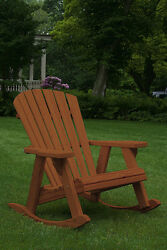Pressure Treated Pine Adirondack Rocking Chair Amish Made USA -Warm Brown Stain