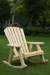 Pressure Treated Pine Outdoor Adirondack Rocking Chair -7 PAINT OPTIONS