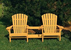 Pressure Treated Pine Outdoor Adirondack Settee with Center Table-Fir Pine Stain