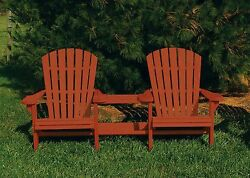 Pressure Treated Pine Outdoor Adirondack Settee with Center Table -Redwood Stain