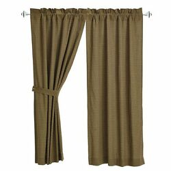 Tea Cabin Lined Cotton Green Plaid Country Window Curtains with Tie-Backs 63