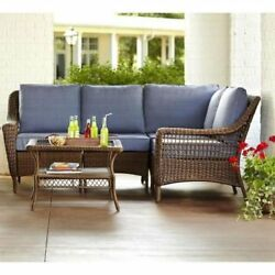 Outdoor Patio Furniture Wicker Sectional All Weather Seating  w Coffee Table