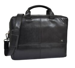 Large REAL Leather BRIEFCASE Man Women BLACK Laptop Bag Office Business Bag NEW