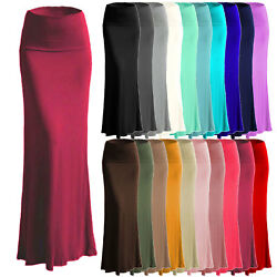 Women#x27;s A line Full Length Rayon Span Maxi Skirt Size:S 5X PLUS Made in USA $17.99