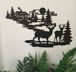 Rustic Iron Metal Silhouette Wood Log Cabin w Deer Trees Wall Hanging Home Decor