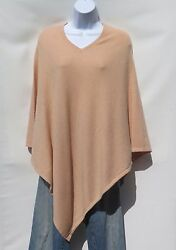 100% Cashmere Knit Poncho Tibetan Yarn Hand Loomed Solid: Peach 1 Size
