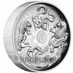 Tuvalu 2016 Ancient Chinese Mythical Creatures $2 2 Oz Silver Antiqued Antique